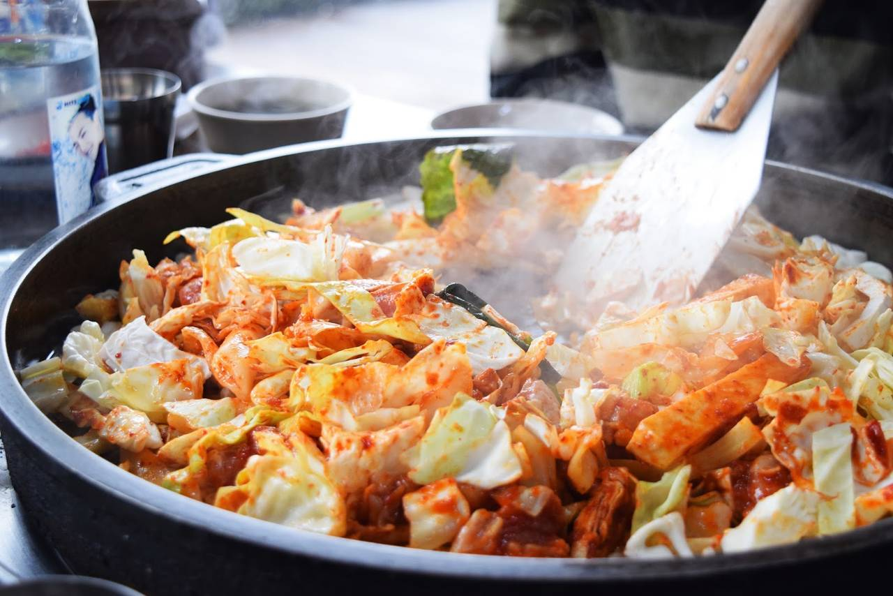 korea seoul food traditional dak galbi chicken vegetables cheese