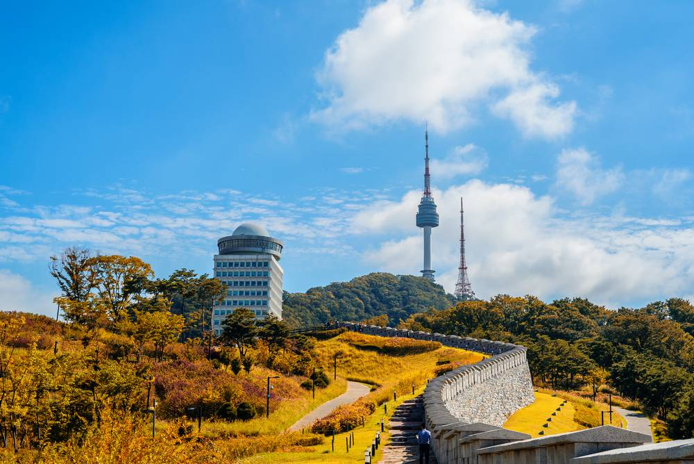 N Seoul Tower Namsan Tower Seoul South Korea Travel Landmark Tourist Attraction View Cityscape Entertainment Castle walls Stroll