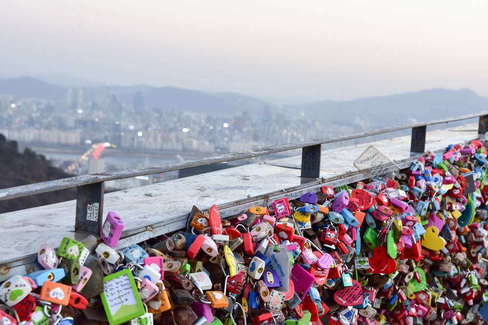 N Seoul Tower Namsan Tower Seoul South Korea Travel Landmark Tourist Attraction Locks of Love View Cityscape Entertainment